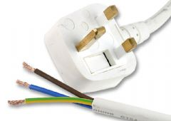 PRO ELEC PE01028  Lead Uk Plug To Bare End 13A Wht 2M